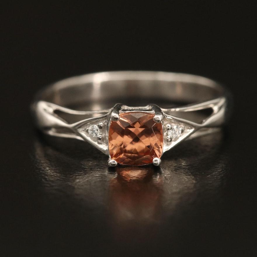 Sterling Zircon Openwork Ring