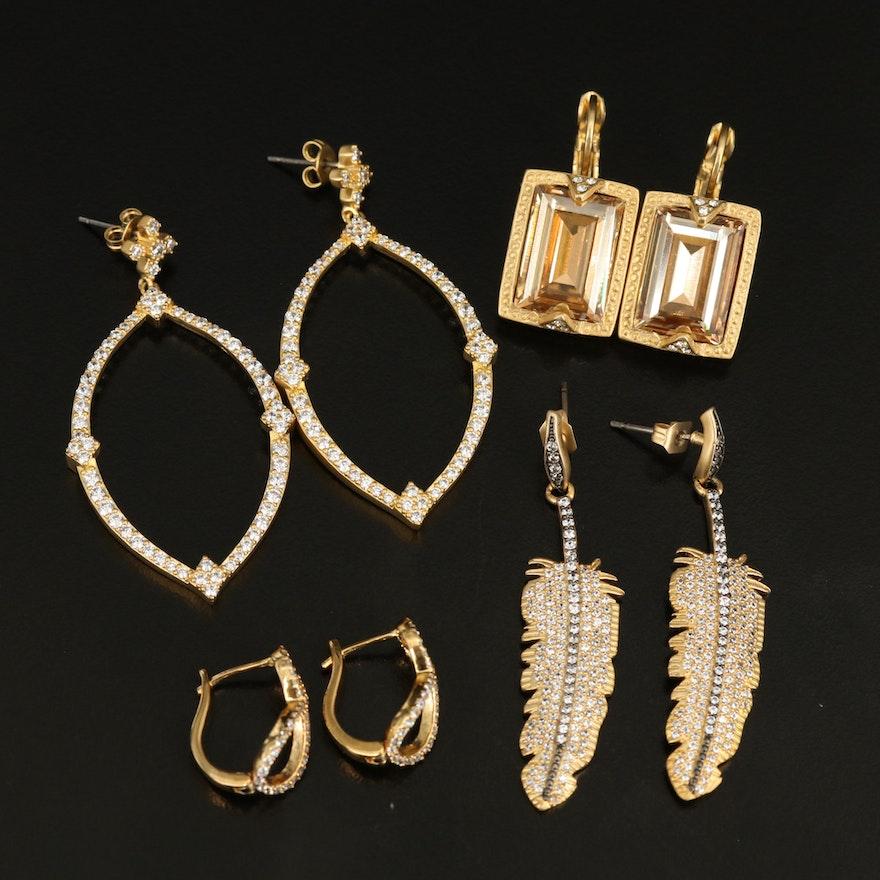 Rhinestone Earrings Including Feather and Navette Earrings
