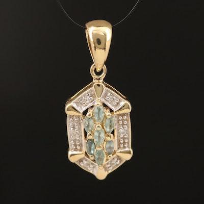 Sterling Alexandrite and White Zircon Pendant