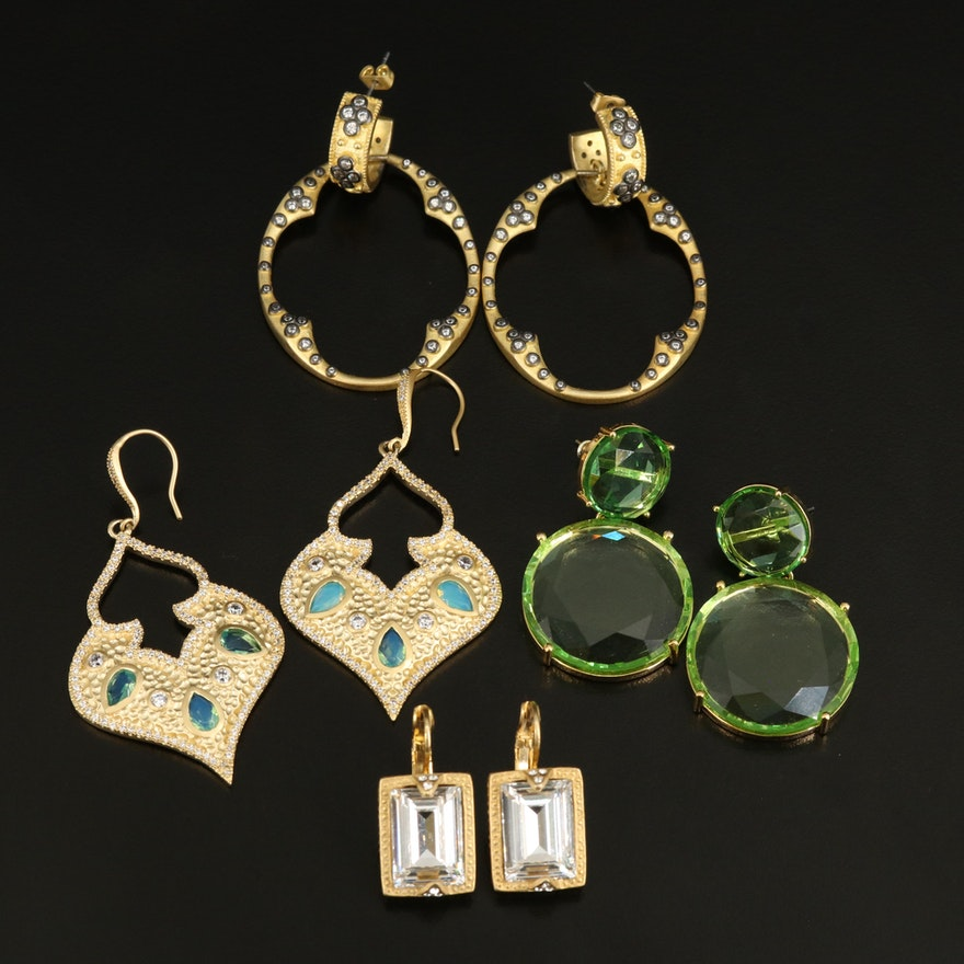 Drop Earrings with Cubic Zirconia and Glass
