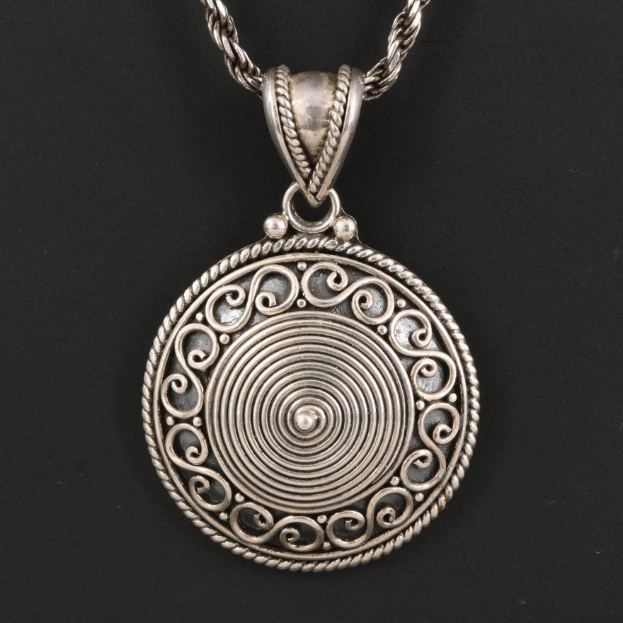 Bali Style Sterling Silver Pendant on French Rope Chain Necklace