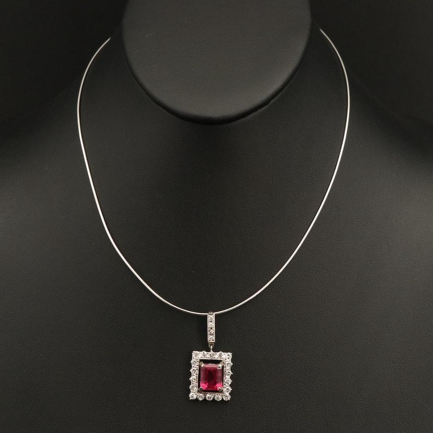 14K 4.30 CT Rubellite Tourmaline and Diamond Pendant Necklace