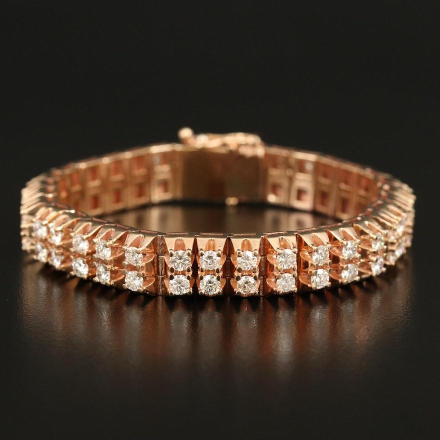Vintage 14K 10.54 CTW Diamond Double Row Bracelet