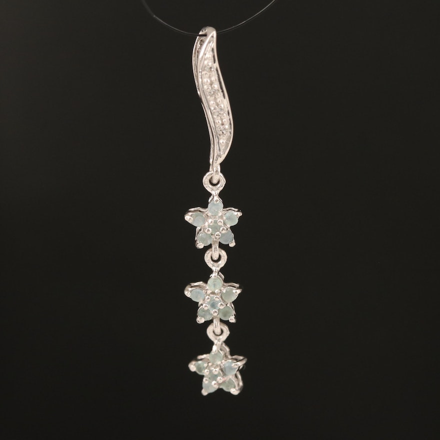 Sterling Alexandrite and White Topaz Floral Drop Pendant