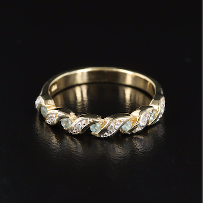 Sterling Alexandrite and White Zircon Crossover Band