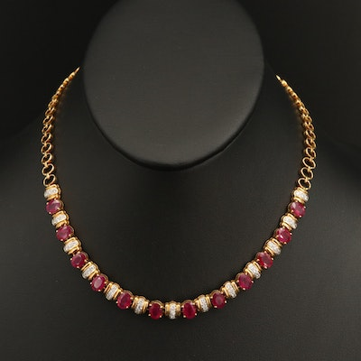 18K Ruby and 1.07 CTW Diamond Necklace