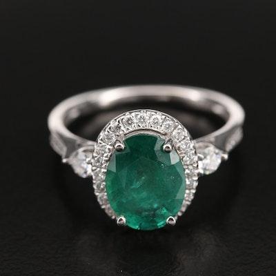 Platinum 2.28 CT Emerald and Diamond Halo Ring