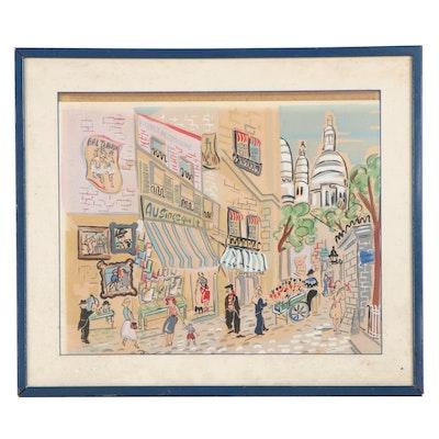 """Claude Rodewald Serigraph """"Place du Tertre, Paris"""""""