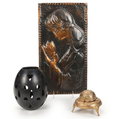 Mexican Black Clay Lantern, Copper Relief Plaque, and Domed Ashtray