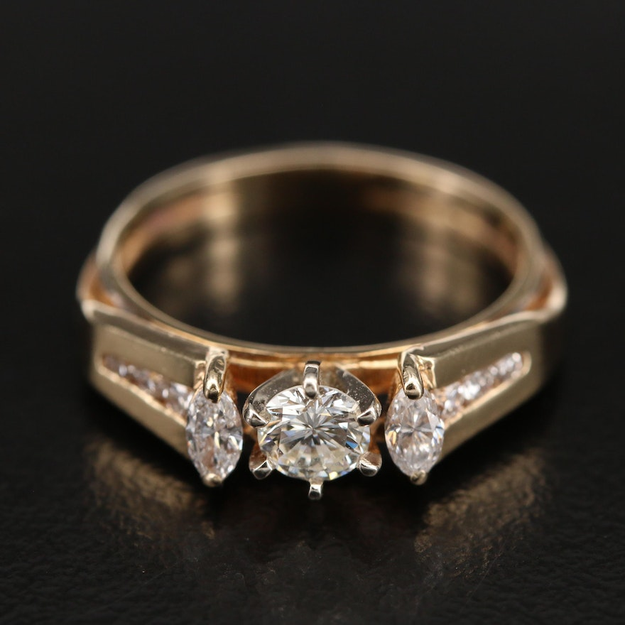 14K 0.59 CTW Diamond Ring with Channel Shoulders