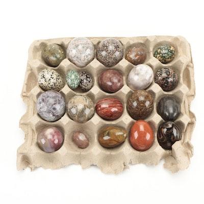 Polished Ocean Jasper, Mookaite, and Other Decorative Jasper and Stone Eggs