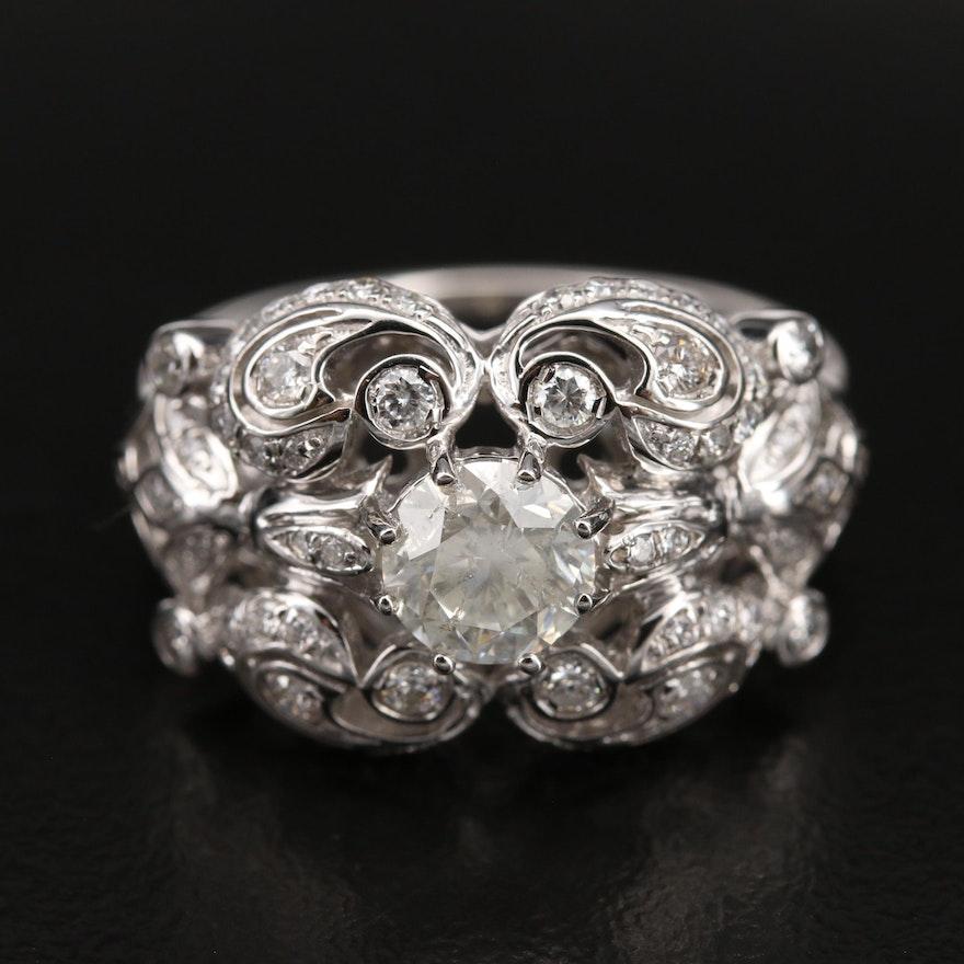 Platinum 1.60 CTW Diamond Scrollwork Ring