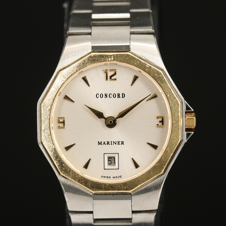 Swiss Concord Mariner with Date 18K and Stainless Steel Wristwatch