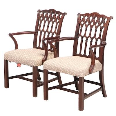 Pair of Wellington Hall George III Style Custom-Upholstered Mahogany Armchairs