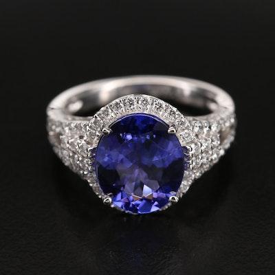 Platinum 4.02 CT Tanzanite Ring with Diamond Halo