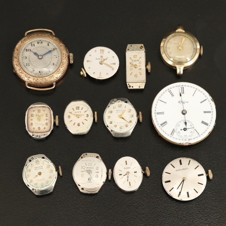 Assorted Swiss and American Vintage Stem Wind Movements