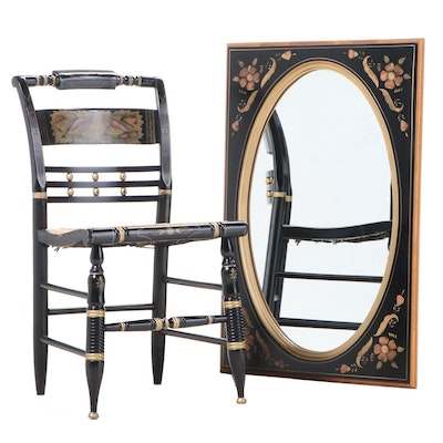 Ethan Allen Ebonized and Gilt-Stenciled Mirror with Hitchcock Side Chair