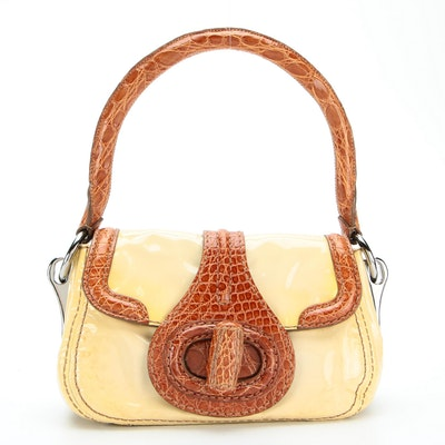 Prada Shoulder Bag BR4594 in Patent Leather with Alligator Skin Trim