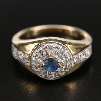 Sterling Sapphire and Zircon Halo Ring