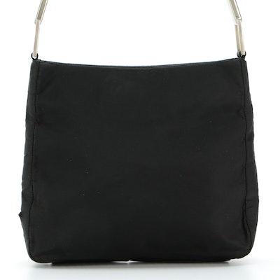 Prada Shoulder Bag in Black Tessuto Nylon with Silver-Tone Handle