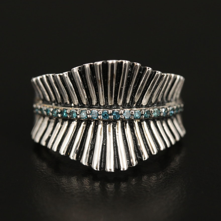 Sterling Diamond Fluted Band