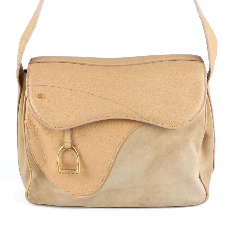 Gucci Stirrup Saddle Leather and Suede Shoulder Bag