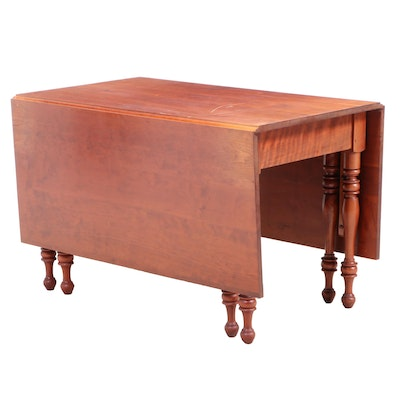 American Primitive Style Cherrywood Drop-Leaf Table, Mid to Late 20th Century