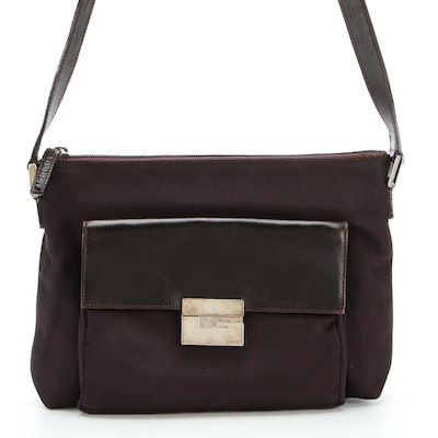Gucci Shoulder Bag in Dark Brown Nylon Canvas with Leather Trim