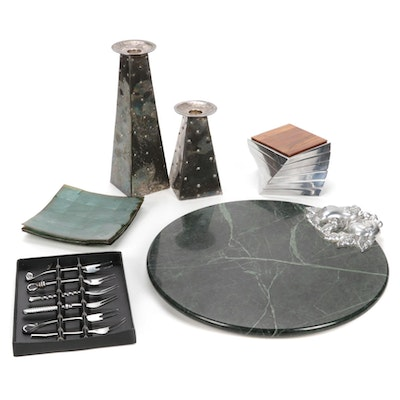 Green Marble Cheeseboard With Other Table Accessories