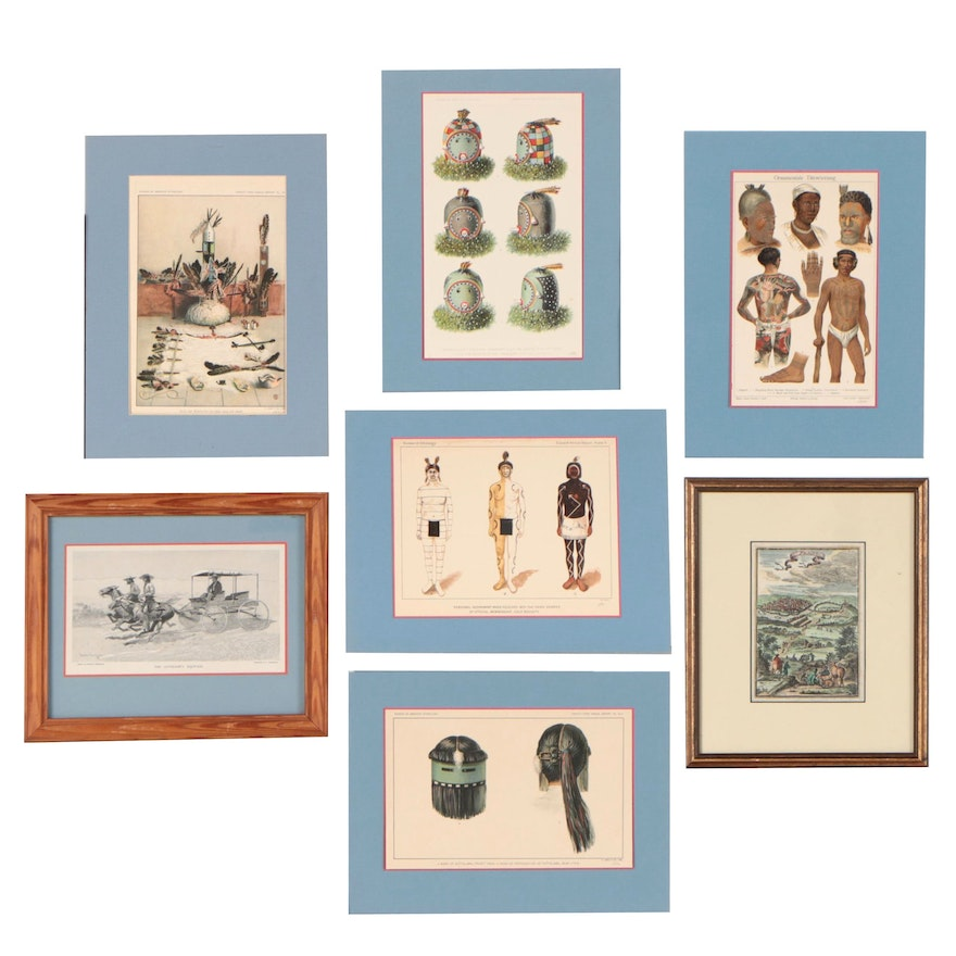 Rotogravures, Hand-Colored Etching and Lithograph, 20th Century