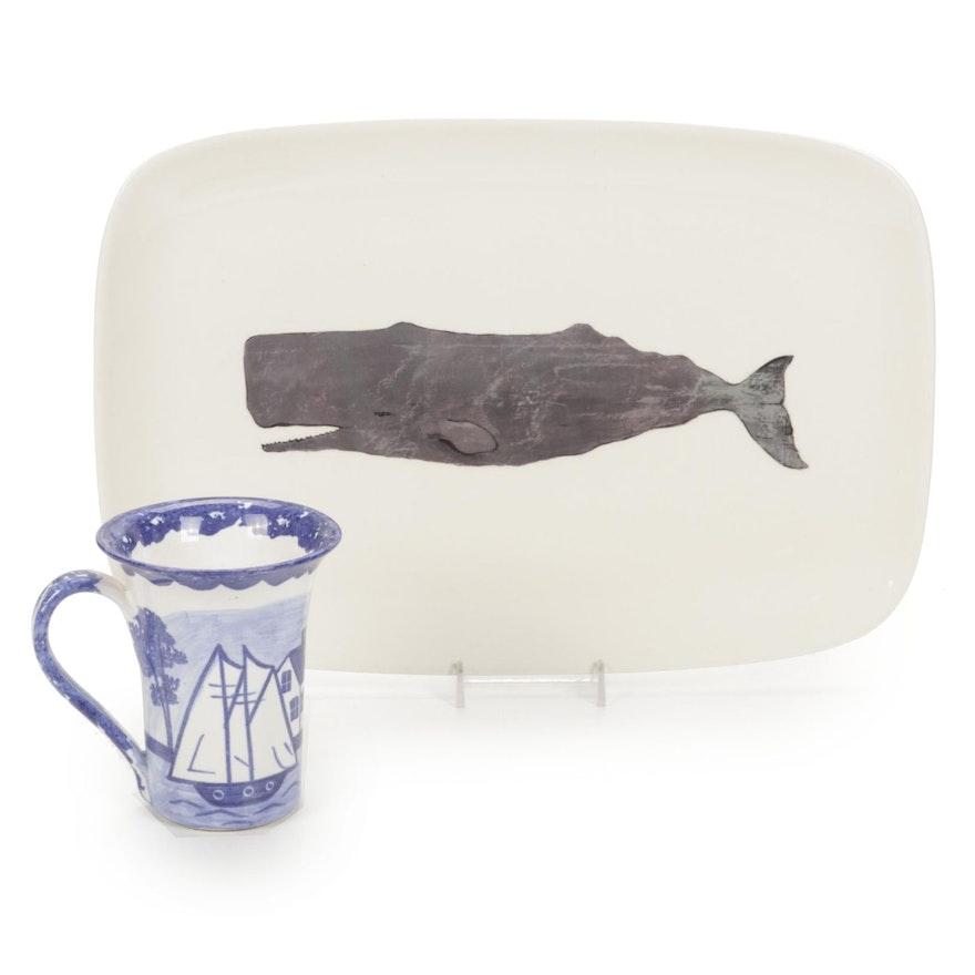 Creative Co-Op Avery Tillmon Whale Serving Platter and Salt Boat Mug