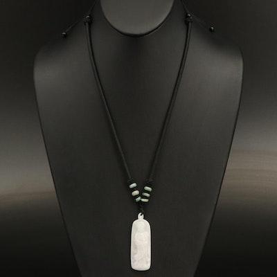 Guan Shi Yin Jadeite Necklace with Faux Black Onyx