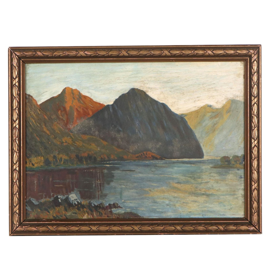 Landscape Oil Painting of Mountain Lake, Mid-20th Century