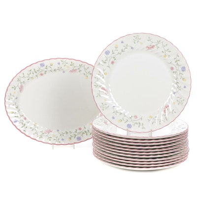 """Johnson Brothers """"Summer Chintz"""" Dinner Plates and Serving Platter, 1985"""