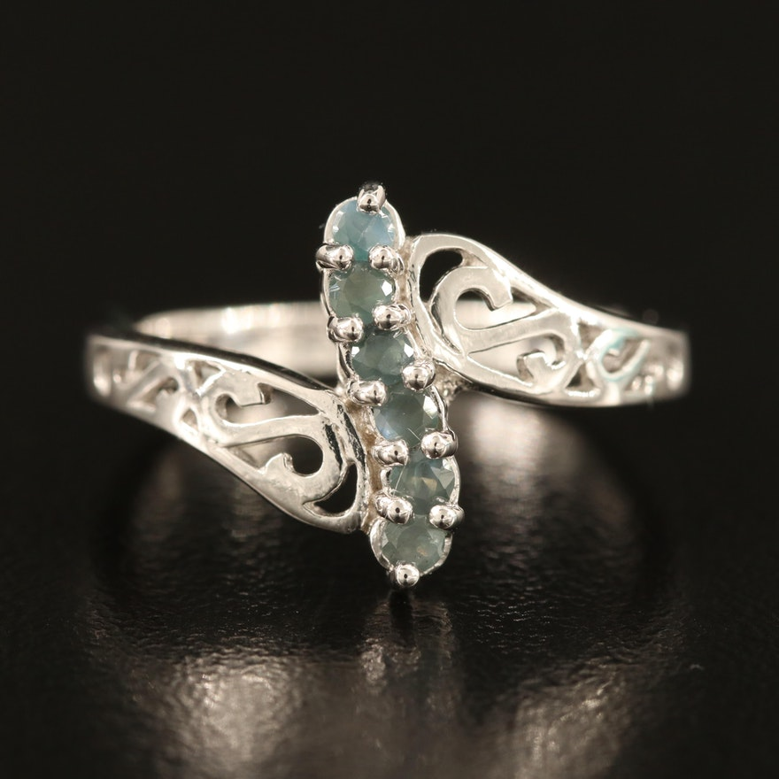 Sterling Alexandrite Bypass Ring with Scrollwork