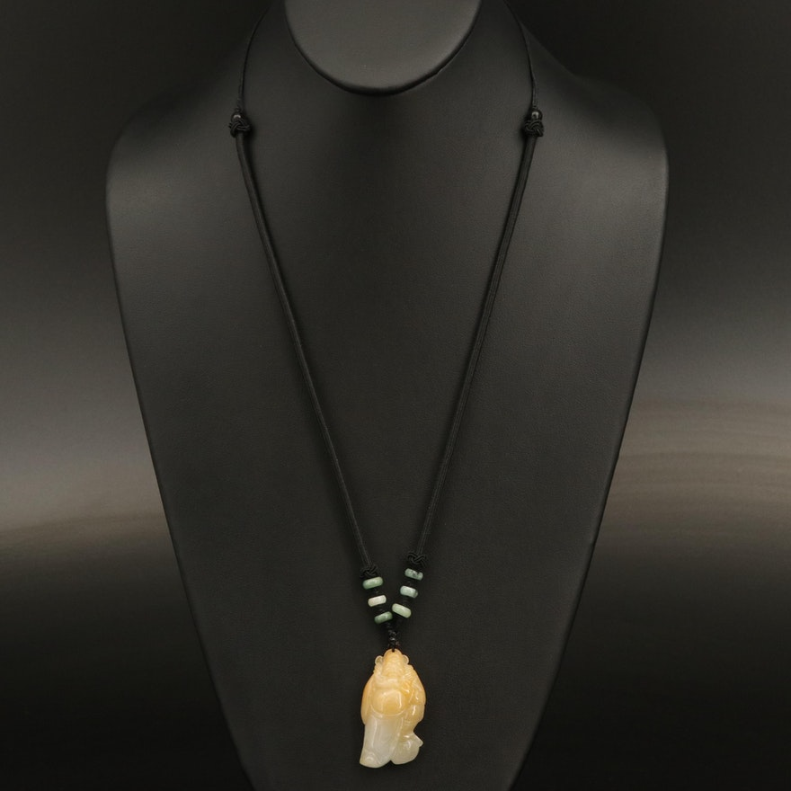 Shichifukujin Seven Lucky Gods Jadeite Carved Pendant Necklace