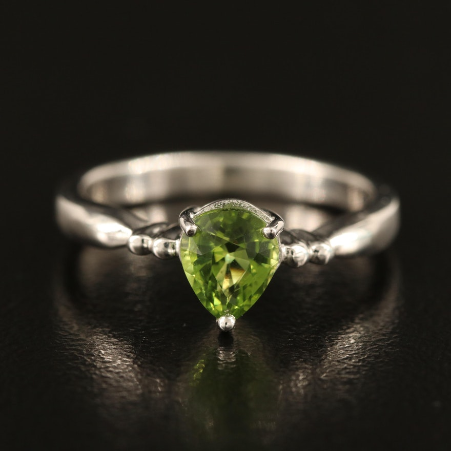 Sterling Peridot Solitaire Ring