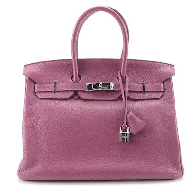 Hermès Birkin 35 Satchel in Tosca Clemence Leather and Palladium Plated Hardware