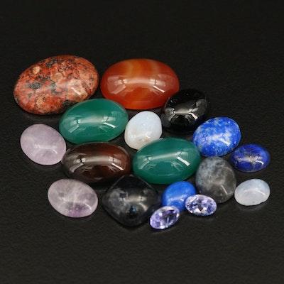 Loose Gemstones Including Tanzanite, Lapis Lazuli and Lace Agate