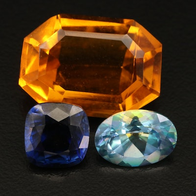 Loose Faceted Topaz, Laboratory Grown Sapphire and Glass