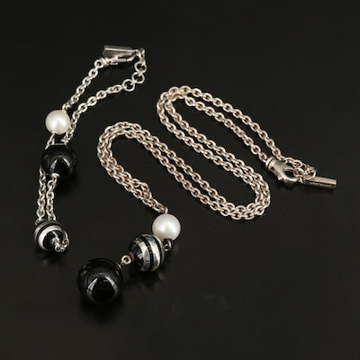 Mont Blanc Sterling Black Onyx, Pearl and Enamel Necklace and Bracelet Set