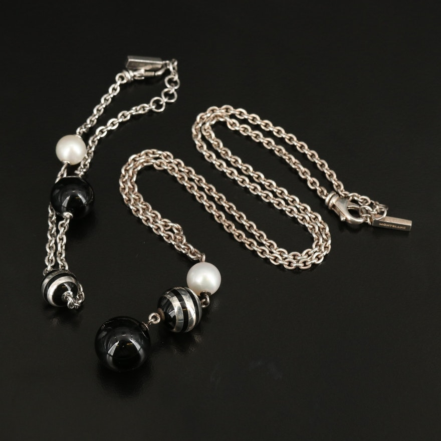 Montblanc Sterling Black Onyx, Pearl and Enamel Necklace and Bracelet Set