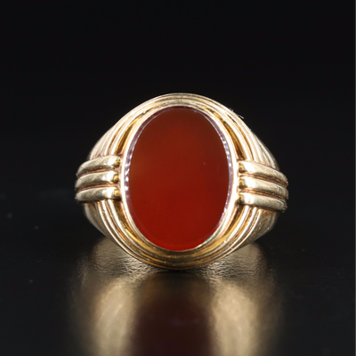 14K Carnelian Circular Ring