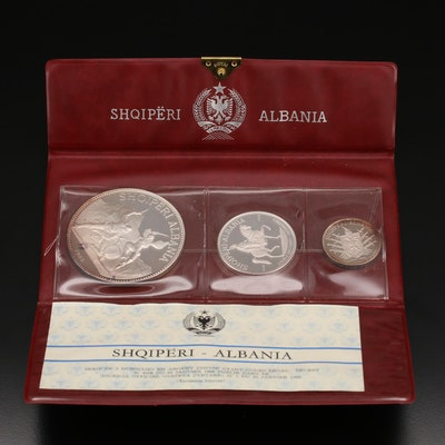 1968 Albania 3 Silver Lekë Coin Set