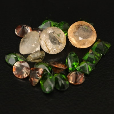 Loose 12.32 CTW Diopside, Grossularite Garnet and Rutilated Quartz