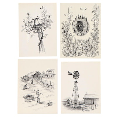 John Imhoff Ink Drawings of Farm Scenes and Landscapes, Mid-20th Century