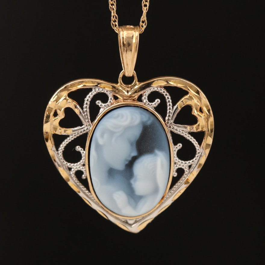"""10K Oval Onyx Mother and Child """"Heaven's Gift"""" Cameo Heart Pendant on 14K Chain"""
