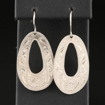 M.L. Sisson Engraved Sterling Drop Hoop Earrings