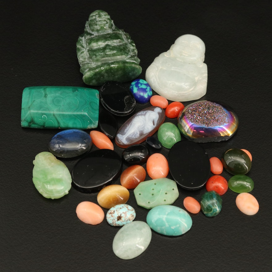 Loose Gemstones Featuring Coral, Malachite, Black Onyx and Carved Buddha