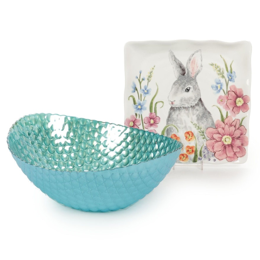 """Ceramic """"Bunny Selfie"""" Serving Tray With Blue Bubble Glass Serving Bowl"""